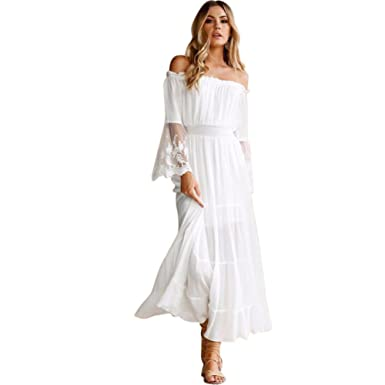 4004a259fc0 Image Unavailable. Image not available for. Color: KOERIM Women's Off  Shoulder Lace Boho White Long Maxi Dress