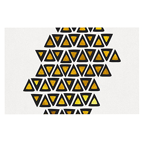 """durable modeling KESS InHouse PG1087ADM02 Pom Graphic Design """"Inca Tribe"""" Gold White Dog Place Mat, 24"""" x 15"""""""