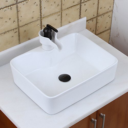 ELITE Bahtroom Rectangle Whtie Porcelain Ceramic Vessel Sink & Oil Rubbed Bronze Ceramic Faucet Combo