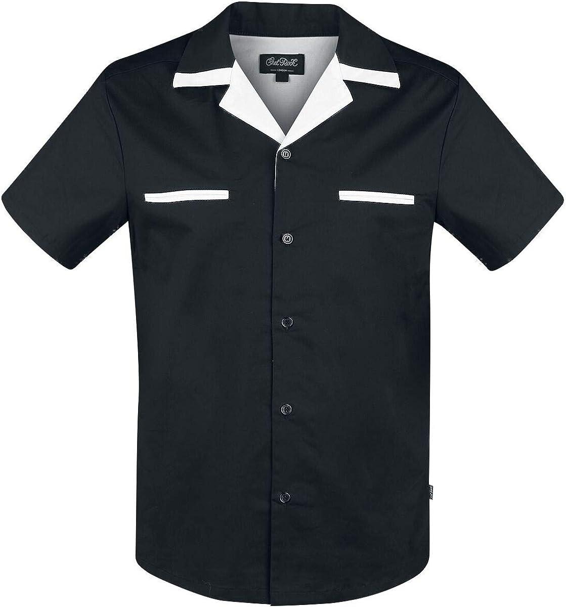Chet Rock Donnie Bowling Hombre Camisa Manga Corta Negro S, 97% algodón, 3% elastán, Ancho: Amazon.es: Ropa y accesorios