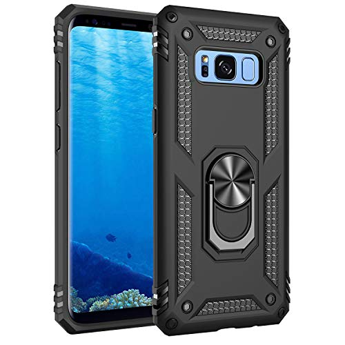 Samsung Galaxy S8 Case, Extreme Protection Military Armor Dual Layer Protective Cover with 360 Degree Unbreakable Swivel Ring Kickstand for Samsung Galaxy S8 Black