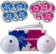 Gender Reveal Golf Balls Exploding Golf Ball Set - 2 Balls - 1 Pink & Blue Plus Golf Tees and 20 Pink and
