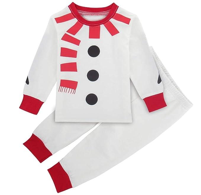 Mombebe Pijamas Bebé Niño Natale Monigote de Nieve Infantil Inverno Ropa Set (Monigote de Nieve