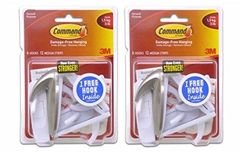 Command Medium Hooks Bonus Pack, 14-Hooks (12-White, 2-Brushed Nickel)