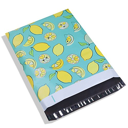 Poly Mailer Bags-100 Pack #5 12x15.5 Inch 2.35MIL Lemon Designer Shipping Envelope Mailers Boutique Custom Bags For UCGOU by UCGOU