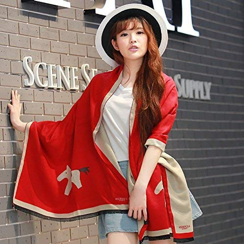 L JINGB Home ScarfFemale AllMatch Shawl Scarf Scarf Double Thickening Imitation Cashmere Scarf Female Autumn and Winter Korean Students Knitted Shawl Long (color   Q)