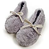 Women's Comfort Plush Fleece Memory Foam Ballerina House Slippers w/ Non Slip Soles (7-8 B(M) US, Grey)