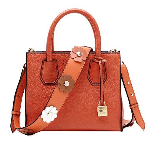 Yy.f Moda Bolso De La Flor Correa De Hombro La Primera Capa De Cuero Bolso De La Cerradura Hombro Paquete Diagonal Bolsos De Cuero Multicolor Orange