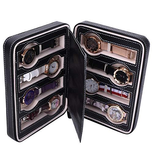 Autoark 8 Slot Leather Portable Travel Watch Case Storage Organizer,Black,AW-034 by Autoark (Image #1)