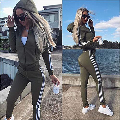 Cindeyar Di Manica pants Green 2 Pezzi Sportivo Donna A Strisce Da Completo Army Gymsuit Tuta Set Lunga Tops rfxIvrq