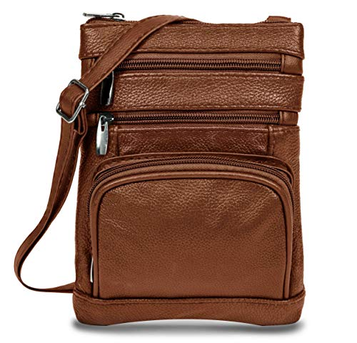 Women's Handbag Genuine Cross Body Purse Bag, Multi-Pocket, Brown Crossbody Bags for Women, Small/Medium Crossbody Bag and Messenger Handbags