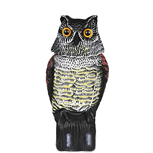 MAARYEE Large Realistic Owl Decoy Rotating Head Weed Pest Control Crow Scarecrow Voice Control Scarecrow Owl and Solar Powered Scarecrow Owl