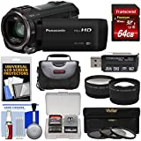 Panasonic HC-V770 Wireless Smartphone Twin Recording Wi-Fi HD Video Camera Camcorder 64GB Card + Case + 3 Filters + Tele/Wide Lens Kit