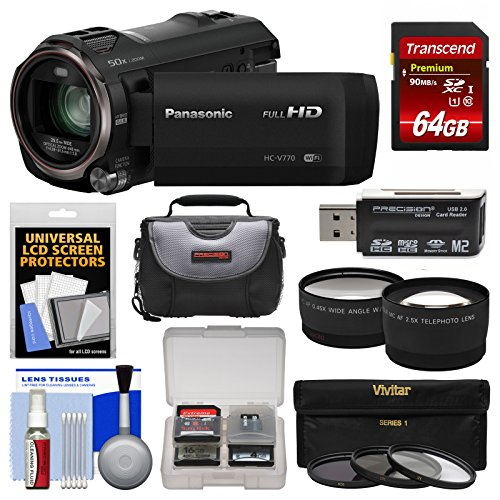 Kit Twin Camera (Panasonic HC-V770 Wireless Smartphone Twin Recording Wi-Fi HD Video Camera Camcorder with 64GB Card + Case + 3 Filters + Tele/Wide Lens Kit)