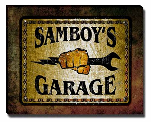 samboys-garage-stretched-canvas-print