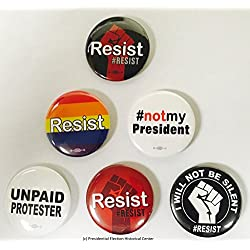 Resist Anti Trump Buttons - Set of 6 that measure 2.25""