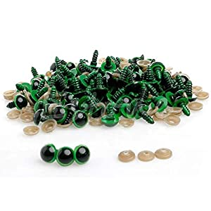 Stebcece 100pcs 16mm Plastic Safety Eyes For Teddy Bear Doll Animal Puppet Craft (green)