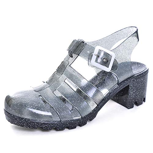 (Women Crystal Jelly Sandals Summer Women Rain Boots Retro Slingback Strappy Heels/Flat Sandals for Women Shiny Black 7.5)