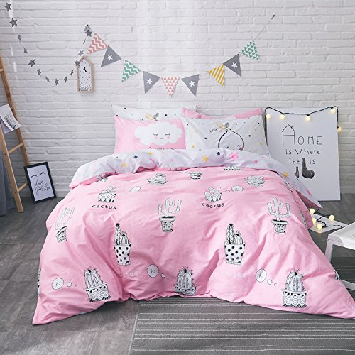 WarmGo Home Textile Pink Duvet Cover Set Full Queen Size 4 Piece for Adult Kids Cactus Pattern Bedding Sets without Comforter by WarmGo