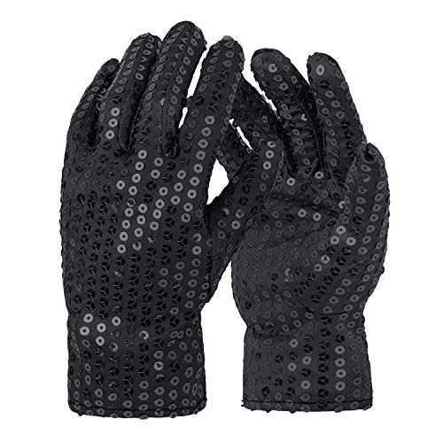 Michael Jackson Costume Gloves Dress up Dance Sequin Gloves Cosplay Party Dance Halloween, Adult Size (Black)