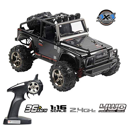 - Tecesy RC Truck 1/16 Scale Electric Jeep 4WD 2.4Ghz Off-Road Drift RC Desert Buggy with Lights 30 MPH BG1511A (Black)