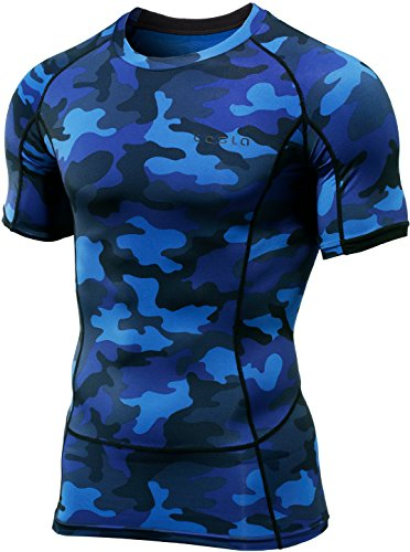CLSL TM-MUB13-MBL_2X-Large Tesla Men's Short Sleeve T-Shirt Cool Dry Compression Baselayer MUB13