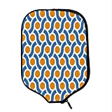 YOLIYANA Geometric Durable Racket Cover,Orange Dots Spots with Informal Lines Waves Curvilinear Abstract Design Decorative for Sandbeach,One Size