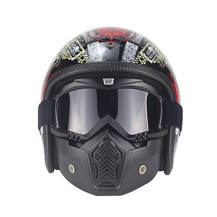zyy Casco Moto Abierto Facede Tachable Gafas/Protector bucal para Motos ciclomotor Cruceros Viajeros Vintage