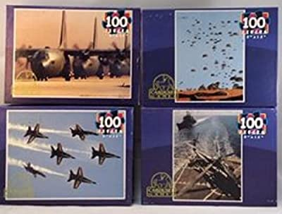 Set of 4 Navy Military 100 Piece Puzzles Blue Angels a C-130 Transport Plane Apache Helicopter on Aircraft Carrier Deck, Parachute Jump