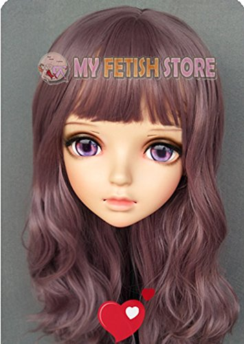 (Miao-2) 女性の甘い女の子樹脂ハーフヘッド着ぐるみマスクbjdの目のコスプレアニメロリータをマスクとしての役割 Female Sweet Girl Resin Half Head Kigurumi Mask With BJD Eyes Cosplay Japanese Anime Role Lolita Mask