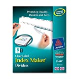 Wholesale CASE of 25 - Avery Prepunched Index Maker Dividers w/ Tabs-Index Maker, Laser, Punched, 8-Tab, 1/ST, White