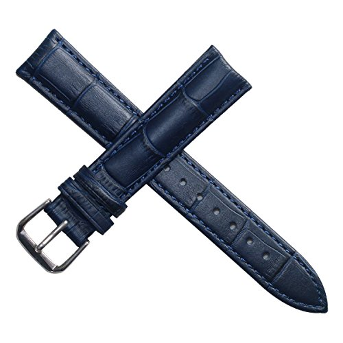 20mm Unisex Dark Matte Blue Genuine Replacement Leather Watch Band Alligator Grain with Low Gloss