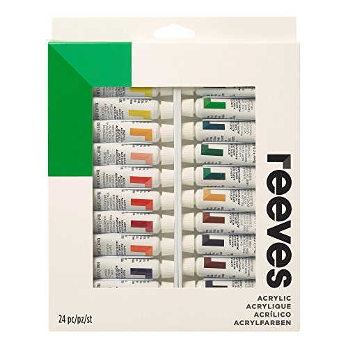 Reeves Acrylic Paint 10ml Tubes, Set of 24