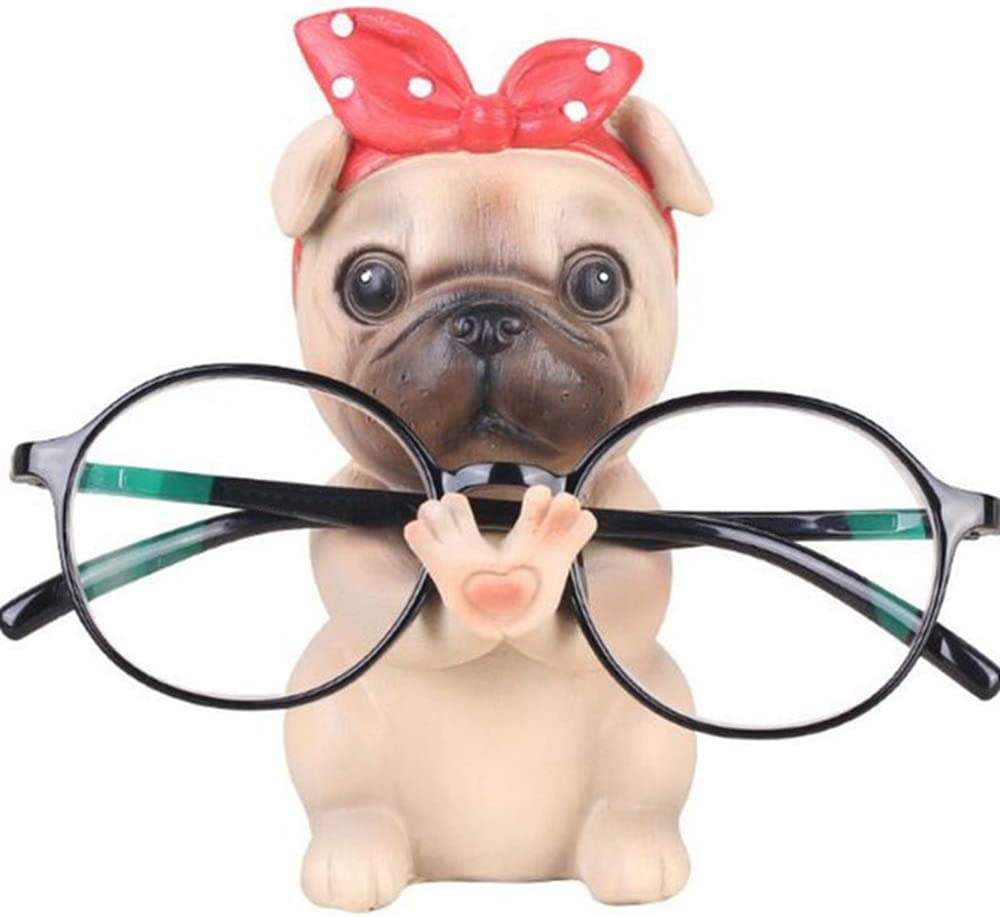 GUIRONG Fun Eyeglass Holder Display Stands - Home Office Decorative Glasses Accessories (Pug)