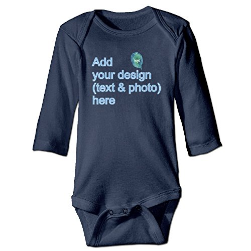 Design YourR Own Onesie - Custom Baby Onesies - Personalized Newborn Outfits Long Sleeve Bodysuit(Navy 6 - A How Suit Up Button To