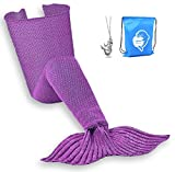 LAGHCAT Mermaid Tail Blanket Crochet Mermaid Blanket for Adult, Soft All Seasons Sleeping Blankets, Classic Pattern (71''x35.5'', Violet)