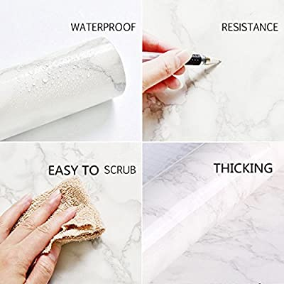 "16"" x 118""Marble Paper Granite Gray/White Waterproof Self Adhesive Removable Gloss Vinyl Film Decorative Self Adhesive Paper for Countertops Furniture Renovated Wallpaper Shelf Paper Marble Effect"