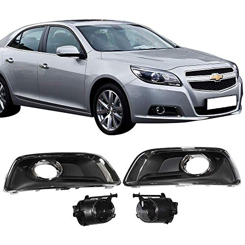 - Fog Lights Fits 2013-2015 Chevy Malibu | Factory Style Black/Chrome Front Lower Foglights Lamps DRL Lights Pair With Switch + Bulbs + Cover Accessories Direct Replacement By IKON MOTORSPORTS