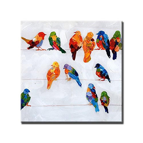 Prime Leader Hand Painted Abstract Painting Bird on The Wire Picture On Canvas Oil Painting Modern Acrylic Paintings Animals Pictures Wooden Framed 24