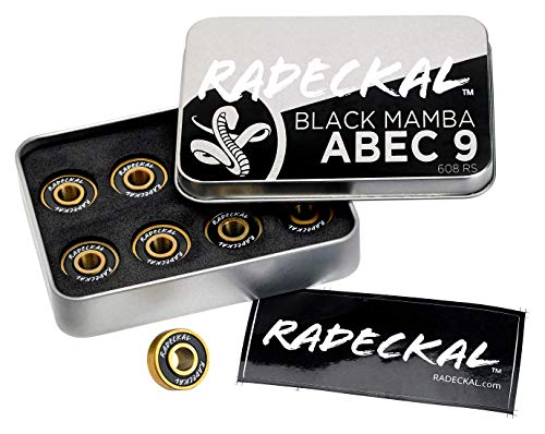 (RADECKAL Black Mamba ABEC 9 Skateboard Bearings with Built in Spacers for Skateboards, Longboards, Cruisers, Pre-Lubricated, High Precision Rating, Long Lasting, 608 RS (1 Set of 8))