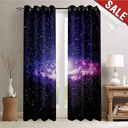 Flyerer Galaxy, Waterproof Window Curtain, Nebula Cloud in Milky Way Infinity in Interstellar Solar System Design Print, Decorative Curtains for Living Room, W72 x L108 Inch Purple Dark Blue ()