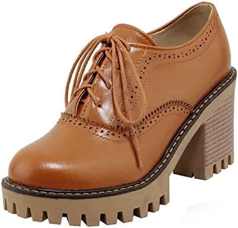 fcb505d2c Mofri Women's Trendy Round Toe Oxfords- Low Top Solid Color Platform - Lace  up Stacked