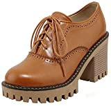 Mofri Women's Trendy Round Toe Oxfords- Low Top Solid Color Platform - Lace up Stacked Block High Heels Brogues Shoes (Brown, 4 B(M) US)