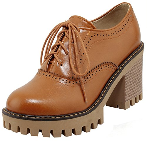 Heels Trendy Brogues Stacked Shoes Brown Platform Color Top Oxfords Block Solid Low Lace High Women's Mofri up Round Toe fqpwZx4S