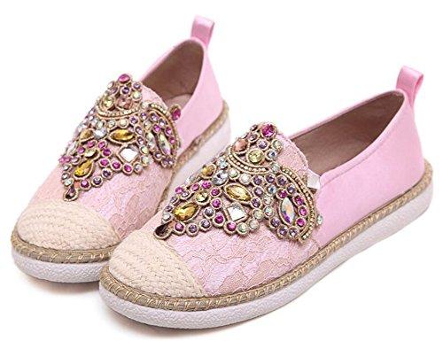 Idifu Donna Elegante Strass Colorati Zeppe Basse Slip On Flats Scarpe Rosa