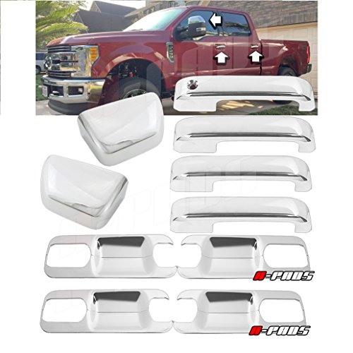 A-PADS Chrome Cover For 2017-2018 FORD F250 F350 F450 Top Half Mirror Cover + 4 Door Handles Without Smart Keyhole + Back (Handles Cover Plate)