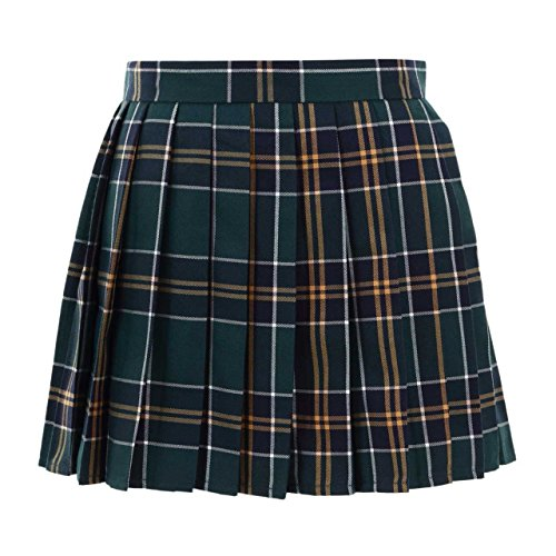 Women School Uniforms plaid Pleated Mini Skirt, Waist(84cm/33inch) 3XL, Dark Green -