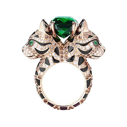 CAT LEOPARD NATURAL TOURMALINE EMERALD DIAMOND 18K ROSE PINK GOLD PANTHER WOMEN RING,ALL US SIZE 5 TO 12 (Ruby Panther Ring)
