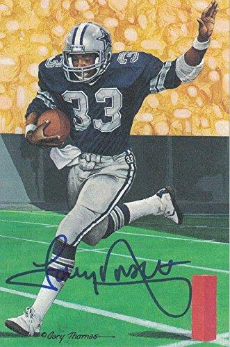 Tony Dorsett Autographed Dallas Cowboys 21428 Goal Line Art Card Blue N/o - JSA Certified - NFL Autographed Football Cards -