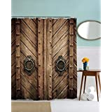 """A.Monamour Vintage Rustic Western Country Wooden Barn Door Picture Printed Fabric Polyester Mildew Resistant Waterproof Shower Curtain Set With Rust Proof Grommets And Hooks 180X200 Cm / 72"""" X78"""""""